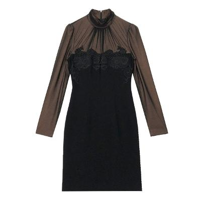 chest lace shirring neck dress black